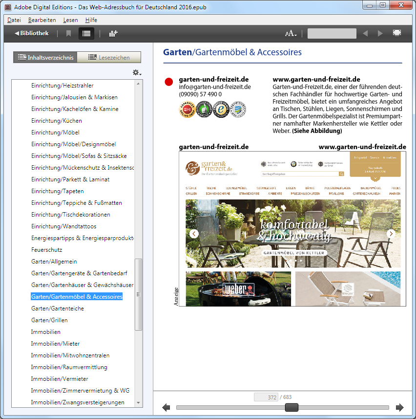 Screenshot von Adobe Digital Edition